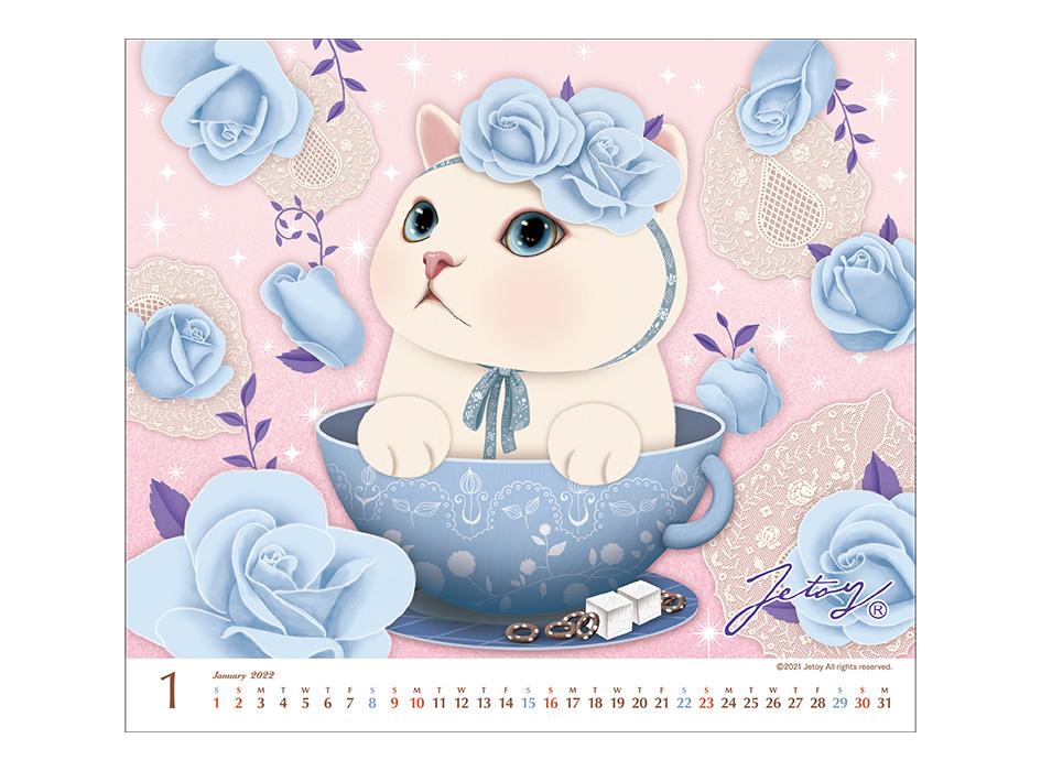 1月は表紙と同じ<br>ブルーローズ猫♪<br>choo choo本舗らしい<br>キュートな絵柄です!
