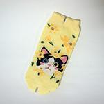 猫の靴下 白黒イエローフラワー