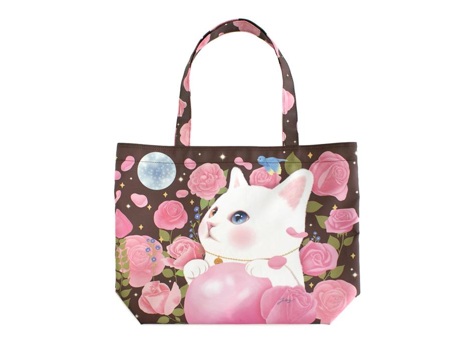 猫のトートバッグ2 白