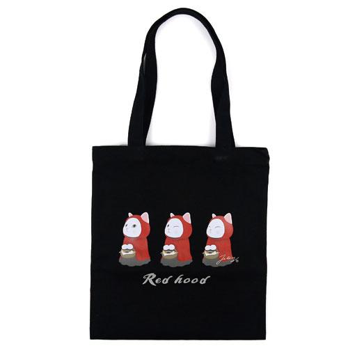 猫の黒トートバッグ 赤ずきん