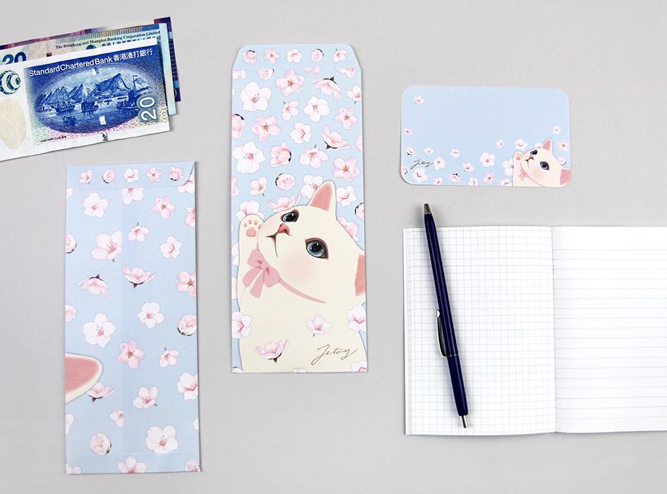 青空に舞う桜の花びらに<br>手を伸ばすキュートな白ねこちゃんが<br>とっても印象的(^^)<br>猫雑貨好きにはたまらない<br>ミニカード付き長封筒です♪