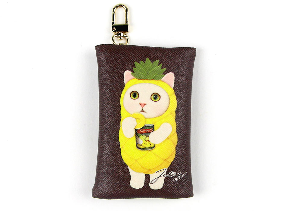 猫のカードケースチャーム パイナップル