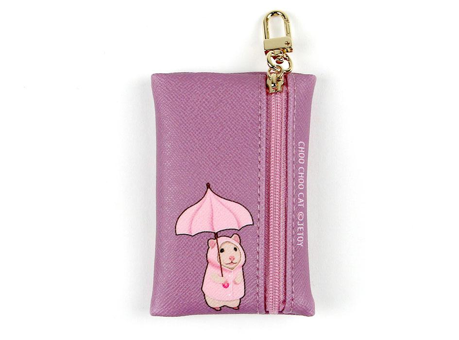 裏面は、猫と同じピンクの傘を持ったハムスター♪