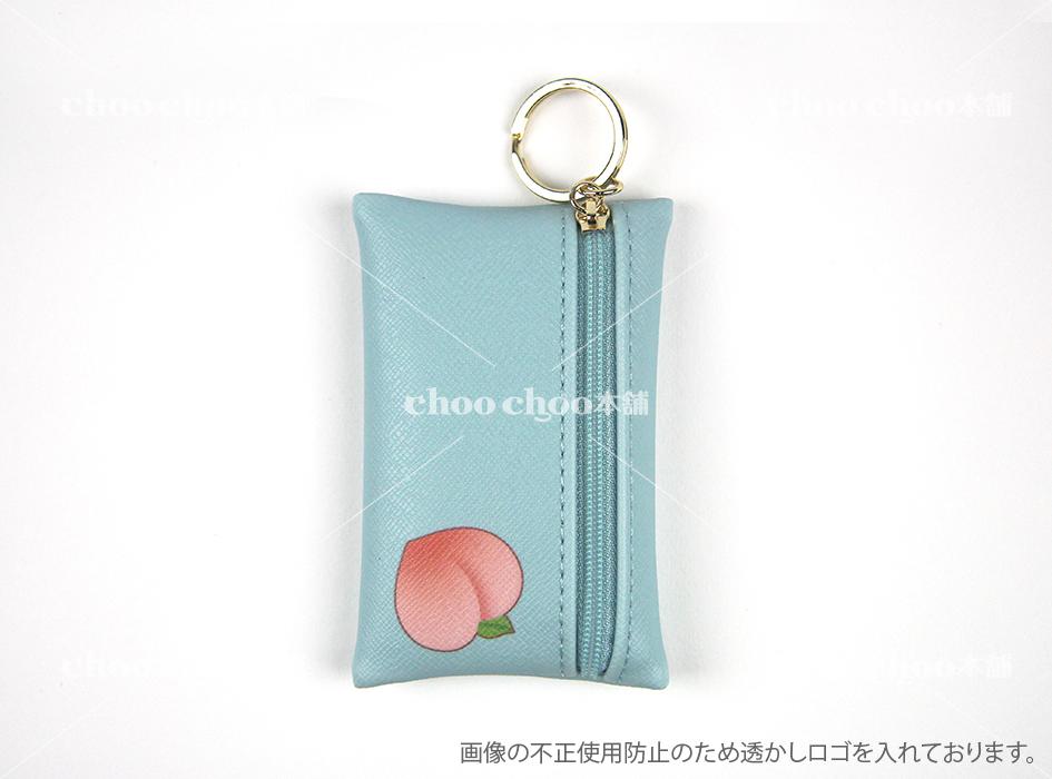 裏面にも甘そうな桃が☆<br>ファスナー式のカードケースは<br>アイデア次第で<br>小物入れや小銭入れとしても<br>活用できそうです(^^)