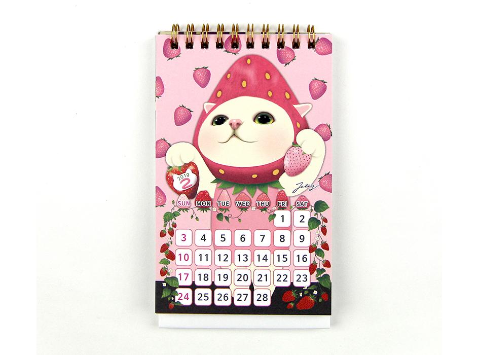 2月のデザインは、いちご猫♪<br>ほんのりピンク色のいちごから<br>真っ赤な食べ頃のいちごまで、<br>用紙いっぱいに描かれています◎