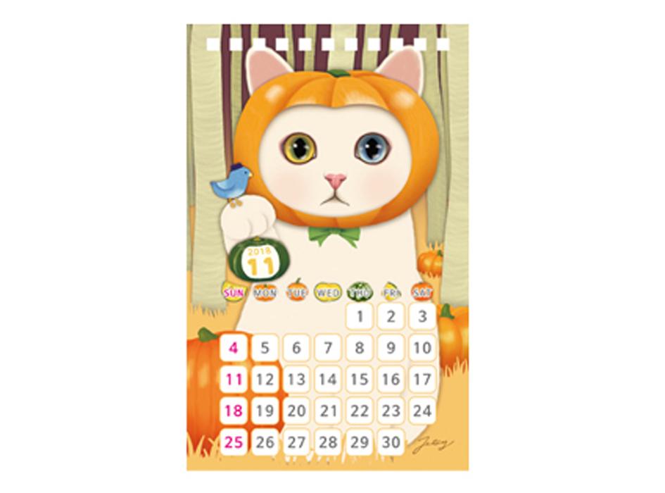 2018年11月スタートのカレンダー♪<br>記念すべき、最初のイラストは<br>11月らしい、かぼちゃのchoo chooです◎