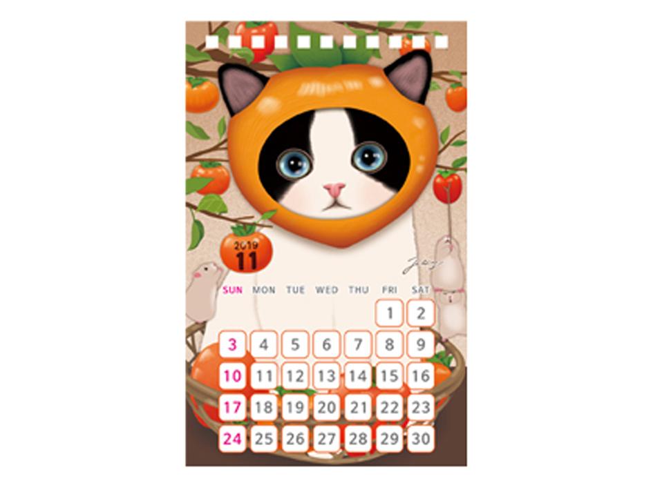 """11月は柿に扮したchoo choo☆<br>""""食欲の秋""""を感じるイラストが魅力的♪"""