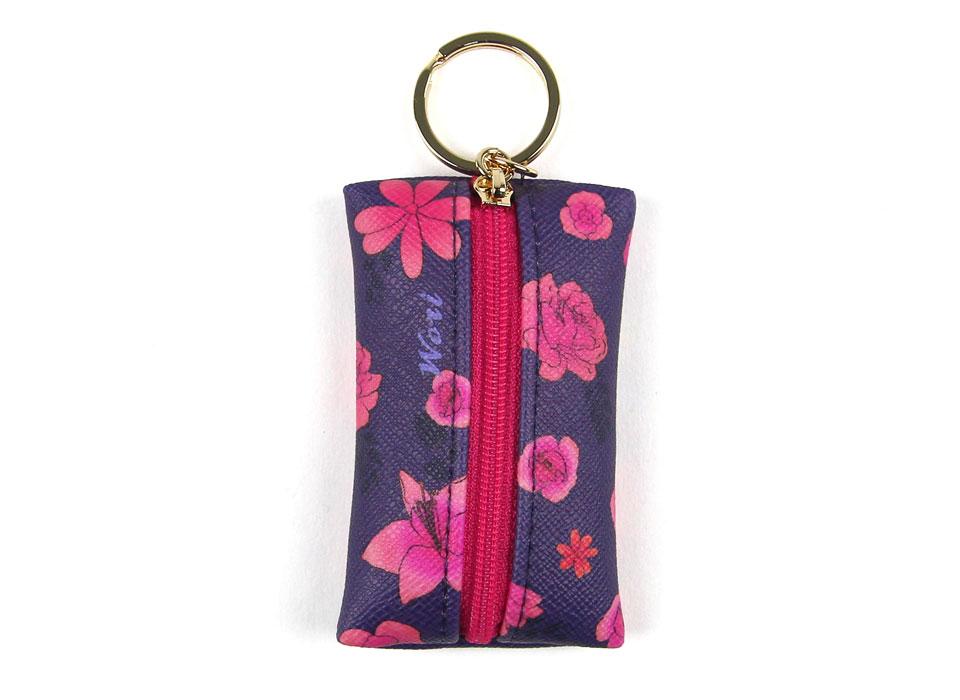 濃いパープルに美しい花!<br>ピンクのファスナーがいい感じです♪