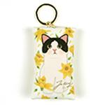 猫のミニミニポーチ・キーリング 白黒イエローフラワー