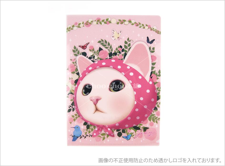 猫のクリアフォルダー2 ピンクずきん