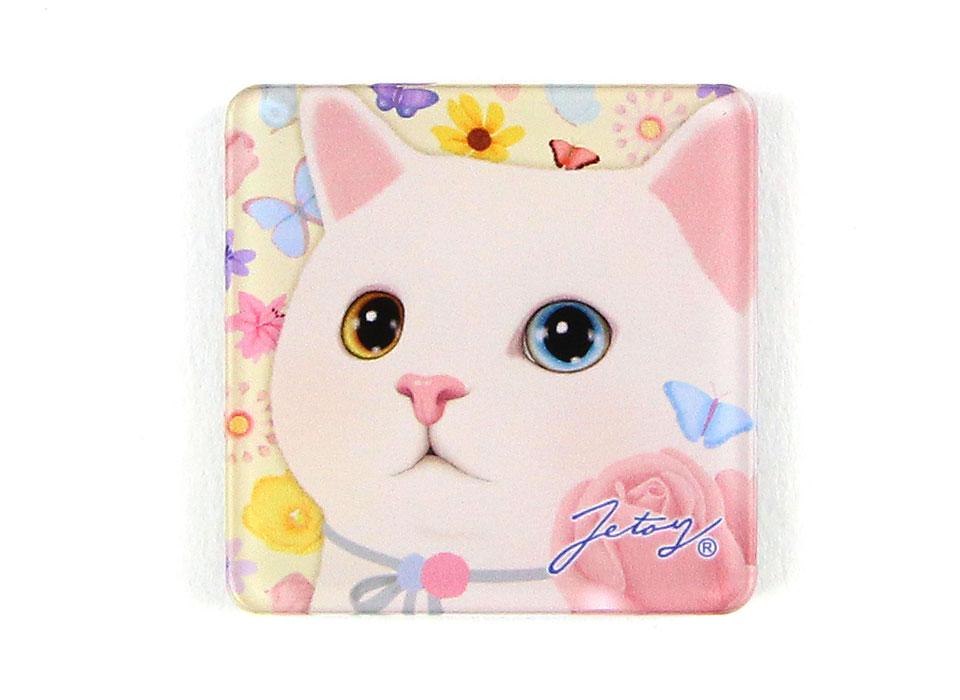 ふわりとお花の香りを感じそう!<br>フラワー猫のおしゃれなマグネットです♪