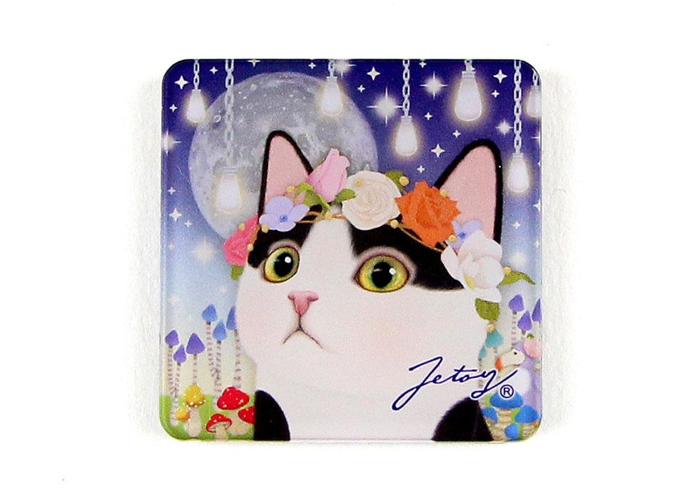 猫のマグネット 白黒フラワー