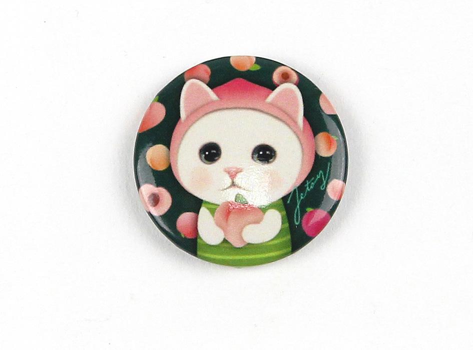 ももを手にしたピーチ猫の<br>つぶらな瞳が印象的なマグネット♪