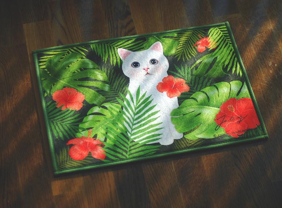 オシャレで華やか◎<br>ハワイアンテイストな背景に<br>白猫が描かれた足ふきマットです!