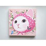猫のキャンバスアートS ピンクずきん