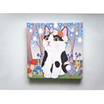 猫のキャンバスアートS 白黒フラワー