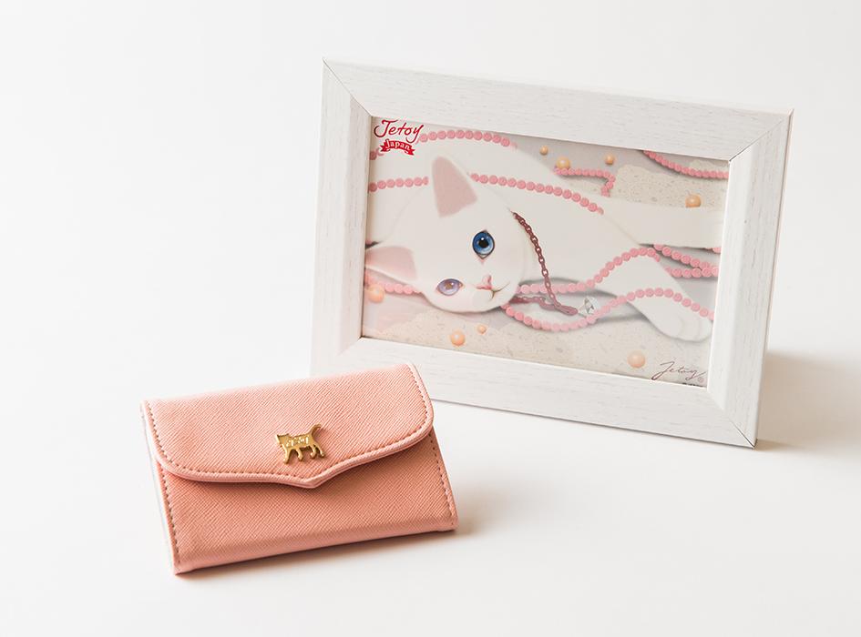 【額絵付き】猫のミラー付きパスケース ピンク/パール