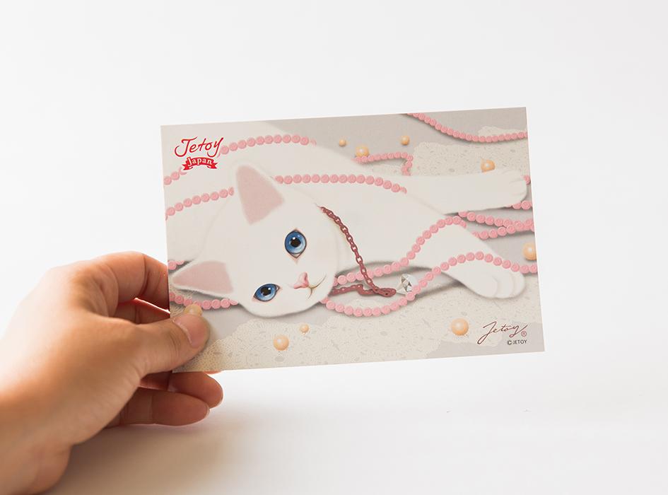 きれいな白猫と<br>淡いピンク色がオシャレです◎