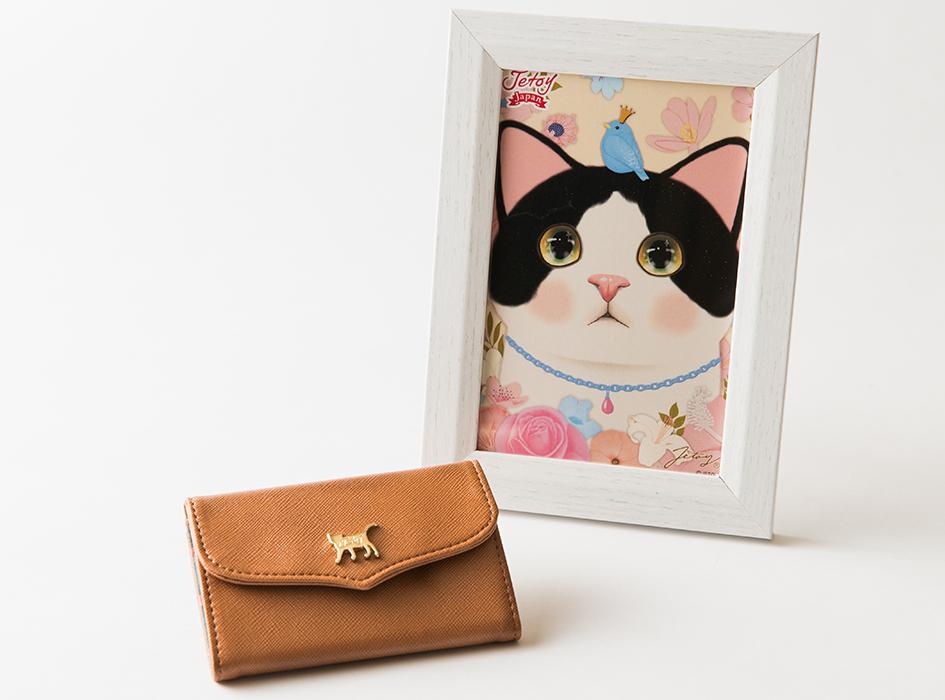 【額絵付き】猫のミラー付きパスケース ブラウン/白黒