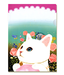 【ワケあり】猫のクリアフォルダー 白