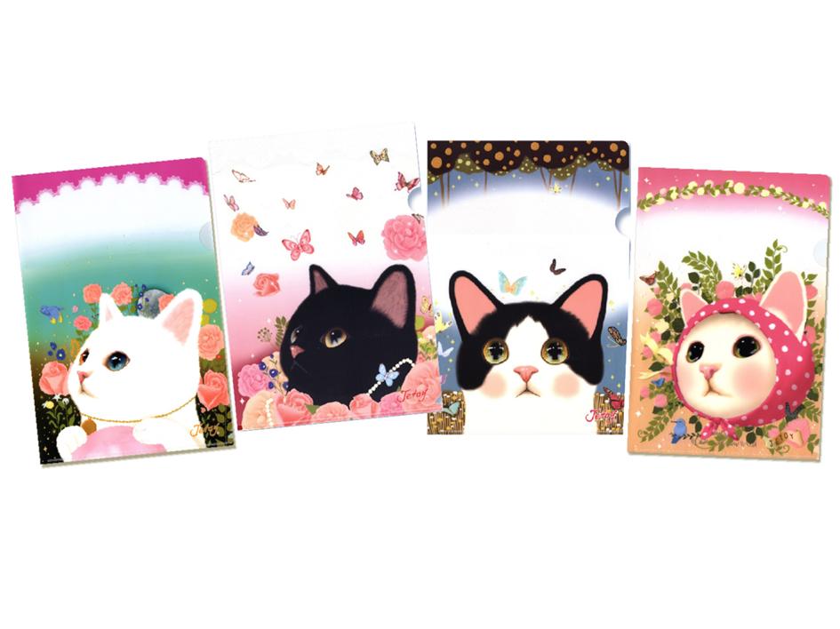 全4種類の【ワケあり】猫のクリアフォルダー!<br>4種類揃えて、目的別に使い分けてもいいですね♪