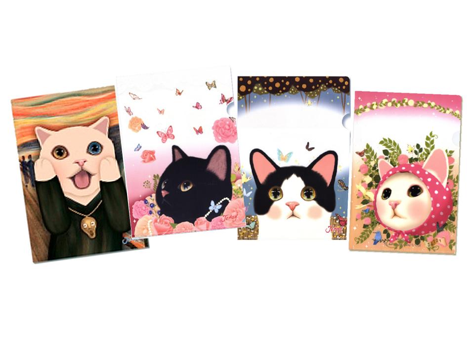 【ワケあり】猫のクリアフォルダーを<br>4種セットにしたうれしいアソート!