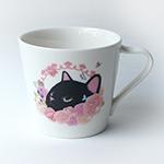猫のミニマグカップ 黒