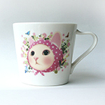 猫のミニマグカップ ピンクずきん