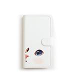 猫のスマホケース 手帳型 白 M