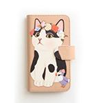 猫のスマホケース 手帳型 白黒フラワー M