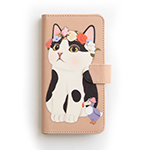 猫のスマホケース 手帳型 白黒フラワー L