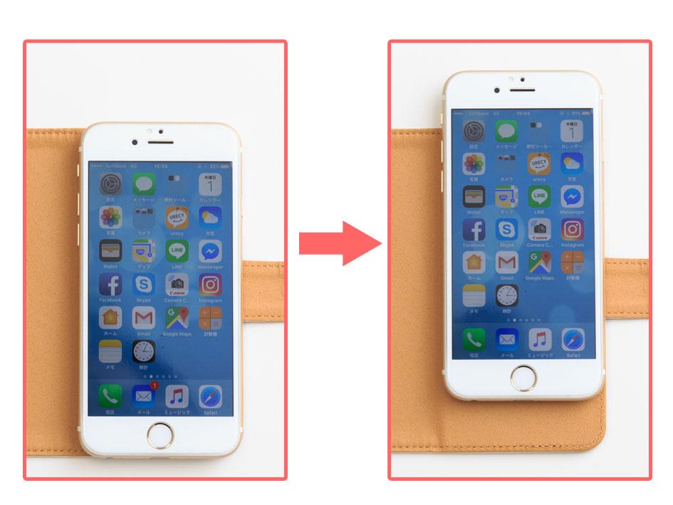 iPhone6を付けたサイズ感です。<br>MサイズにiPhone6を取り付けると、上下はギリギリになります<br>※ご注文の際は大きさを間違えないようにご指定ください