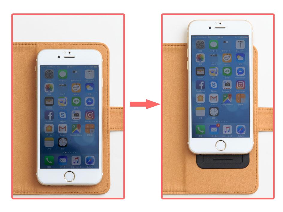 iPhone6を付けたサイズ感です。<br>※ご注文の際は大きさを間違えないようにご指定ください