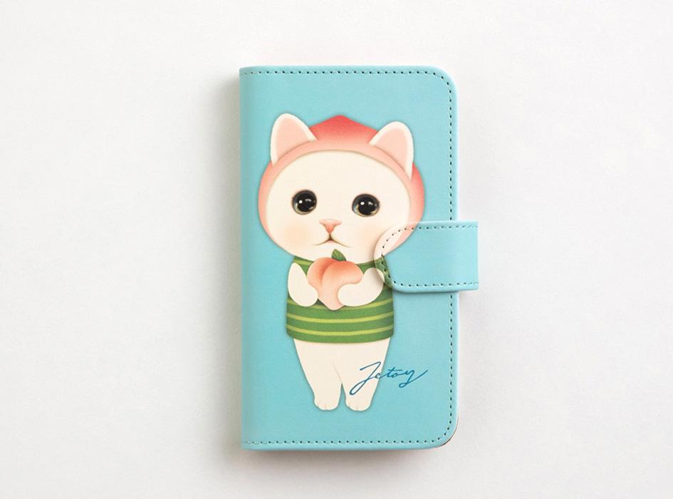 桃を被った白猫のキュートなイラストと、<br>ミントグリーンのベースカラーがマッチ!<br>おしゃれな手帳型スマホケースです♪