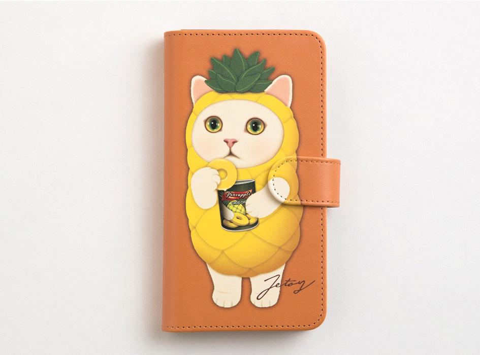 キャメルのベースカラーにパイナップル猫!<br>個性的なイラストの手帳型スマホケースです♪