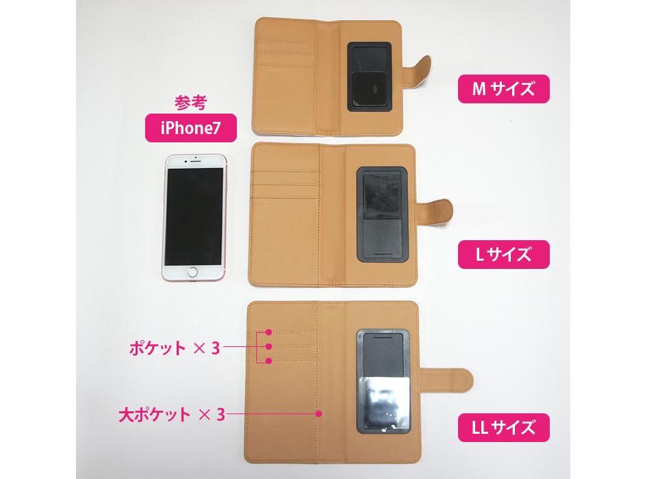 M、L、LLの3サイズ展開<br>iPhone7とサイズ比較しました。