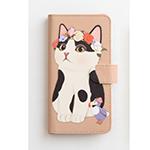 猫のスマホケース 手帳型 白黒フラワー