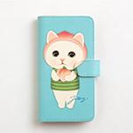 猫のスマホケース 手帳型 ピーチ