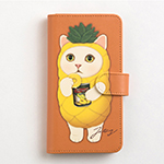 猫のスマホケース 手帳型 パイナップル