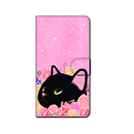 猫のスマホケース 手帳型 カスタム 黒L