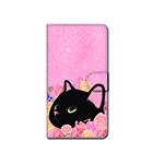猫のスマホケース 手帳型 カスタム 黒M