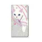 猫のスマホケース 手帳型 カスタム パール
