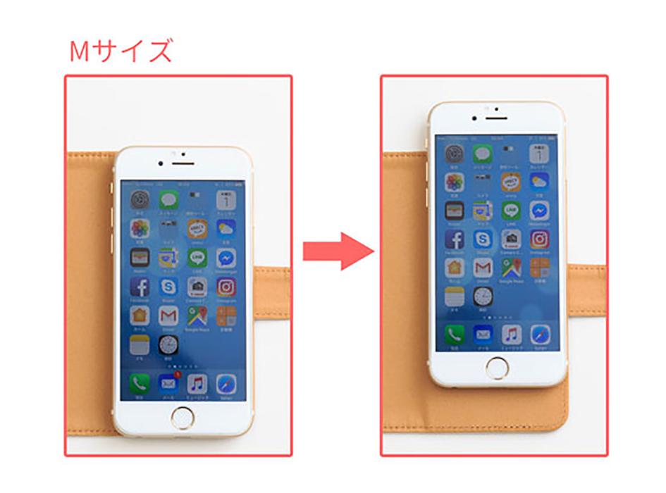 写真はMサイズのスマホケースに<br>iphone6を付けたサイズ感です。<br><br>▼スマホのサイズ対応目安▼<br>Mサイズ:縦125mm~138mm<br>Lサイズ:縦139mm~150mm