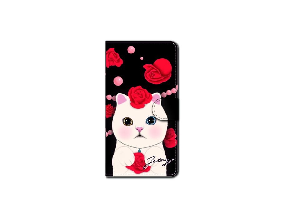 """<div class=""""red"""">【第2回!<br> 猫のスマホケース 手帳型 カスタム<br> 受注会】開催中!</div><br>こちらを見つめる白猫の<br>キリッとした瞳が美しい!<br>赤いバラも艶やかなスマホケースです♪<br>※商品の写真および画像はイメージです。<br>実際の商品とは異なる場合があります。"""