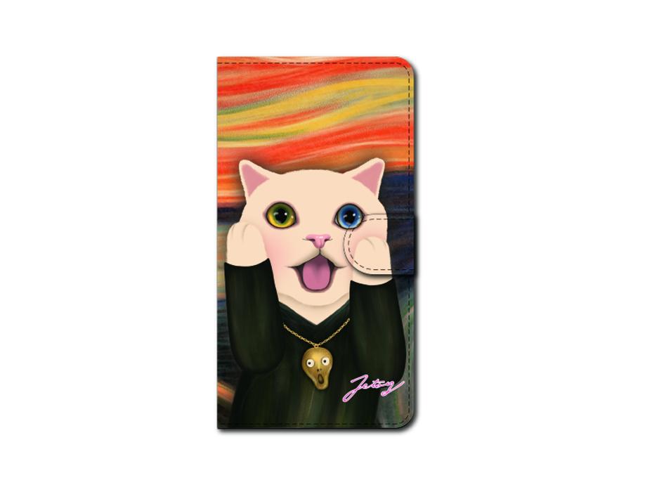 "<div class=""red"">第2回受注会 開催中!</div><br>ムンクの名画をオマージュ♪<br>白猫の表情がユニークでかわいらしい<br>スマホケースです!<br>※商品の写真および画像はイメージです。<br>実際の商品とは異なる場合があります。"