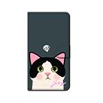 猫のスマホケース 手帳型 カスタム 白黒