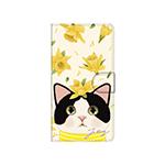 猫のスマホケース 手帳型 カスタム 白黒イエローフラワー
