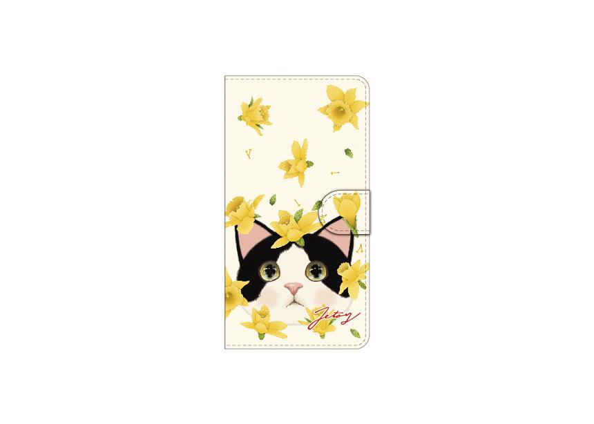 """<div class=""""red"""">【第2回!<br> 猫のスマホケース 手帳型 カスタム<br> 受注会】開催中!</div><br>キュートなハチワレ猫ちゃんと<br>舞い散るイエローの花が<br>とてもすてきなデザインの<br>スマホケースです♪<br>※商品の写真および画像はイメージです。<br>実際の商品とは異なる場合があります。"""
