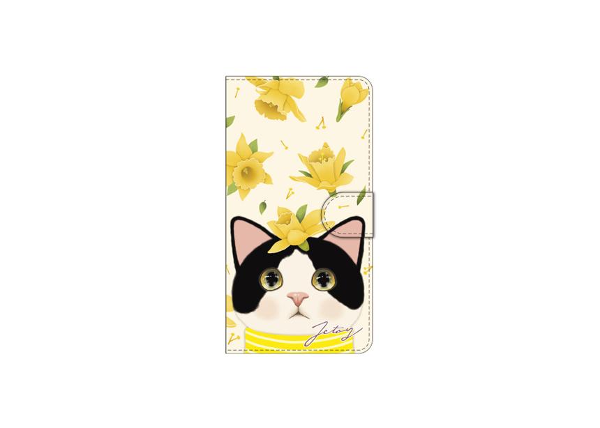"""<div class=""""red"""">【猫のスマホケース 手帳型 カスタム<br> 受注会】開催中!</div><br>キュートなハチワレ猫ちゃんと<br>舞い散るイエローの花が<br>とてもすてきなデザインの<br>スマホケースです♪<br>※商品の写真および画像はイメージです。<br>実際の商品とは異なる場合があります。"""