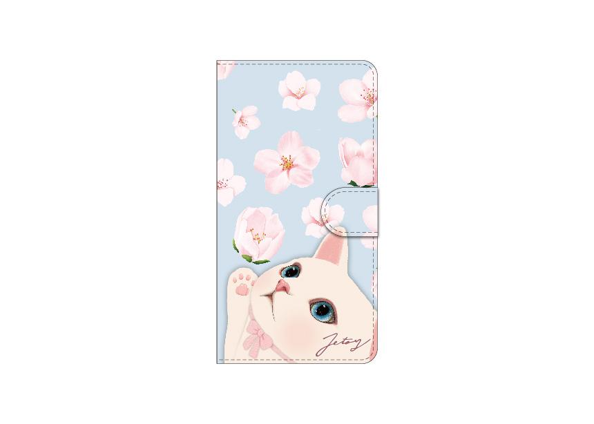 さわやかなブルーの背景と<br>桜の花びらがすてき♪<br>白ネコ好き必見の<br>手帳型スマホケース!